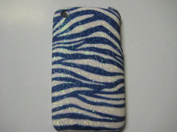 New Blue Glittery Zebra Design Hard Protective Cover For iPhone 3G 3GS - (0035)