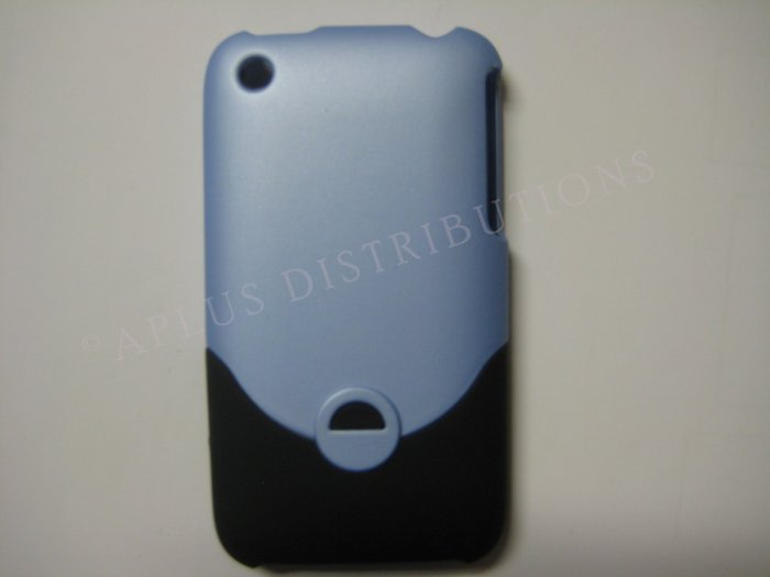 New Light Blue Rubberized Slider Design Hard Protective Cover For iPhone 3G 3GS - (0097)