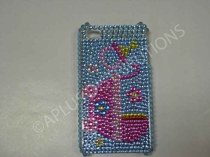 New Blue Baby Cradel Design Crystal Bling Diamond Case For iPhone 4 - (0085)