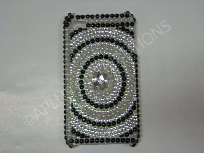 New Black Diamond In Circle Design Crystal Bling Diamond Case For iPhone 4 - (0023)