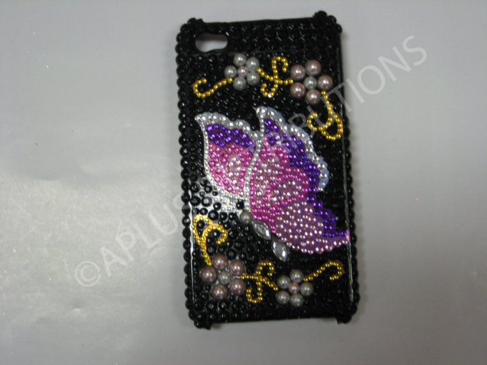 New Black Butterfly W/Pearls Design Crystal Bling Diamond Case For iPhone 4 - (0038)