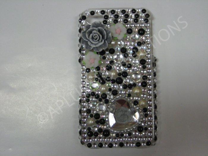 New Black 3D Flower W/Diamond Heart Design Crystal Bling Diamond Case For iPhone 4 - (0047)