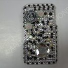 New Black 3D Flower W/Diamond Heart Design Crystal Bling Diamond Case For iPhone 4 - (0047)