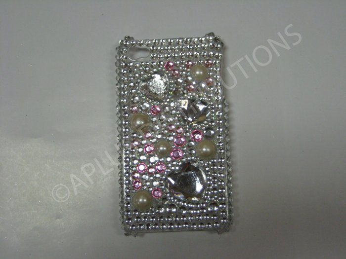 New White Multi-Hearts Diamonds Design Crystal Bling Diamond Case For iPhone 4 - (0045)