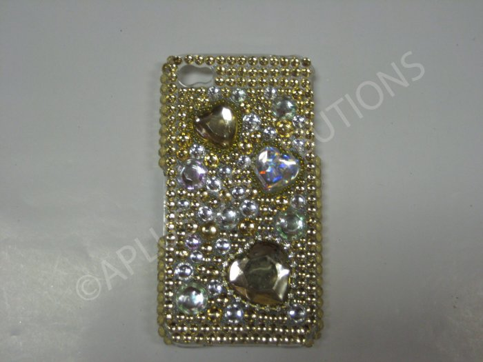 New Gold Multi-Hearts Diamonds Design Crystal Bling Diamond Case For iPhone 4 - (0044)