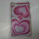 New Hot Pink Illusion Heart Design Crystal Bling Diamond Case For iPhone 4 - (0050)