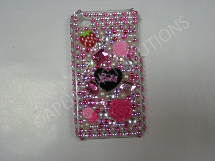 New Pink Barbie W/Flowers Design Crystal Bling Diamond Case For iPhone 4 - (0043)