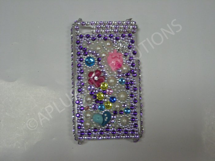New Purple Strawberry/Heart/Flowers Design Crystal Bling Diamond Case For iPhone 4 - (0039)