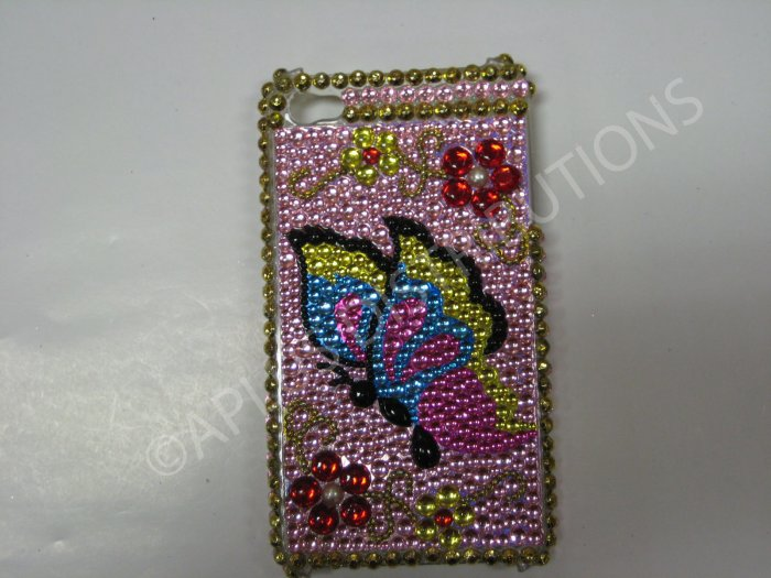 New Multi-Color Butterfly Side W/Ruby Flower Design Crystal Bling Diamond Case For iPhone 4 - (0051)