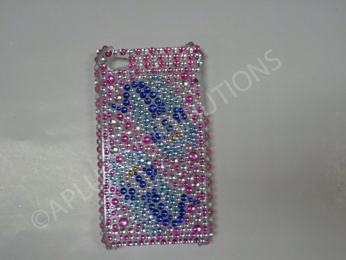 New Pink Two Tadpoles Design Crystal Bling Diamond Case For iPhone 4 - (0031)