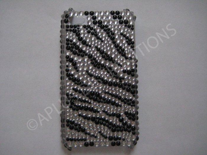New Black Zebra   Design Crystal Bling Diamond Case For iPhone 4 - (0020)