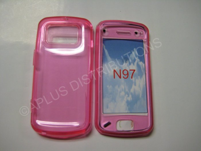New Hot Pink Transparent Color TPU Cover For Nokia N97 - (0026)