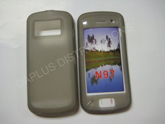 New Gray Solid Color TPU Cover For Nokia N97 - (0023)