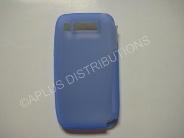 New Blue Solid Color Silicone Skin Case For Nokia E72 - (0010)