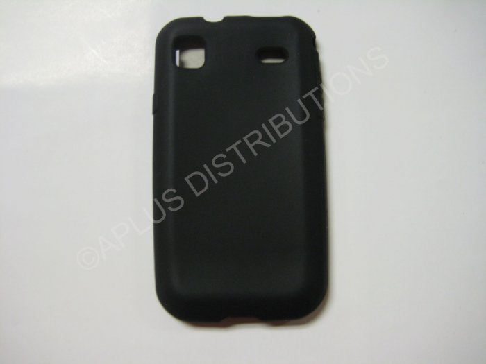 New Black Solid Color Silicone Skin Case For Samsung Captivate I897 - (0006)