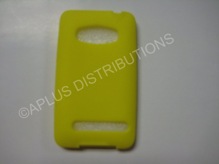 New Yellow Solid Color Silicone Skin Case For HTC Evo 4G - (0014)