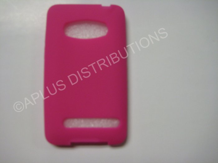 New Hot Pink Solid Color Silicone Skin Case For HTC Evo 4G - (0009)