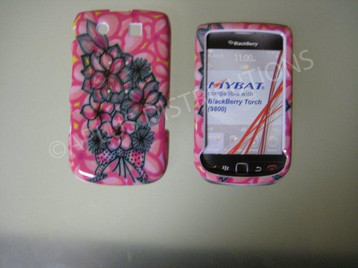 New Pink Multi-Plumeria Design Hard Protective Cover For Blackberry 9800 - (0152)