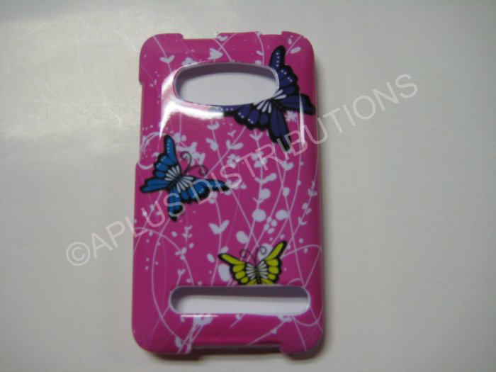 New Pink Butterfly In Twigs Design Hard Protective Cover For HTC Evo 4G - (0014)