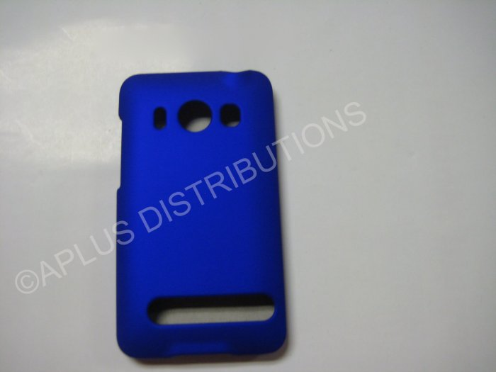 New Blue Rubberized Hard Protective Cover For HTC Evo 4G - (0053)