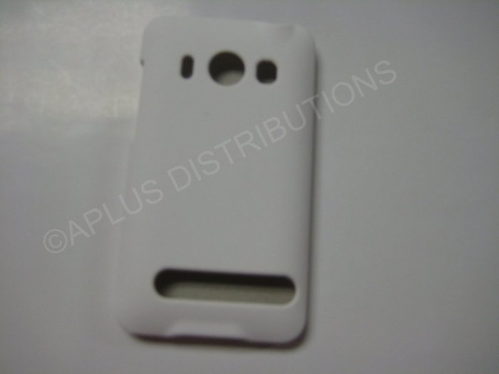 New White Rubberized Hard Protective Cover For HTC Evo 4G - (0052)