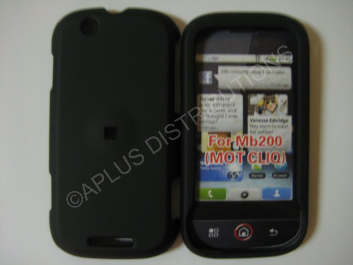 New Black Rubberized Hard Protective Cover For Motorola Cliq MB200 - (0051)