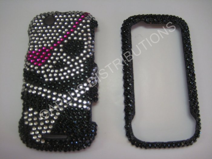 New Pink Skull Pink Patch Bling Diamond Case For Motorola Cliq MB200 - (0016)