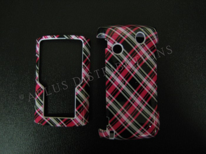 New Hot Pink Plaid Pattern Hard Protective Cover For Samsung Comback T559 - (0015)