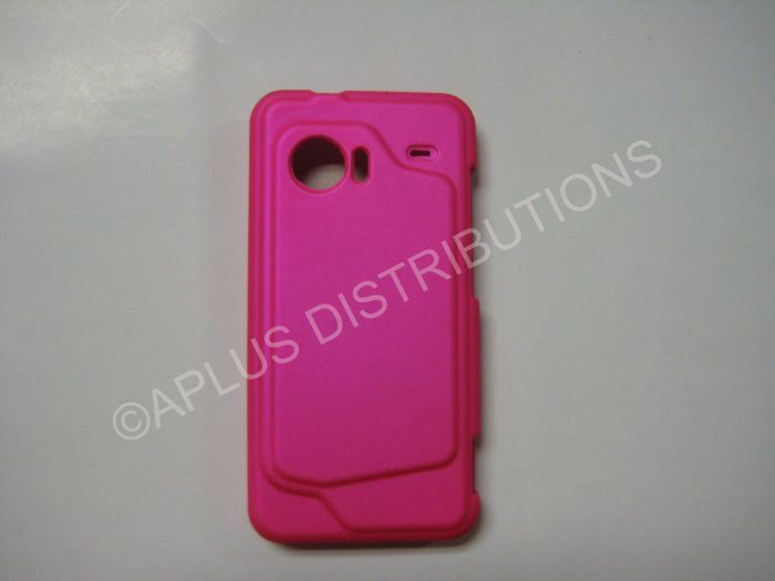 New Hot Pink Rubberized Hard Protective Cover For HTC Droid Incredible - (0055)