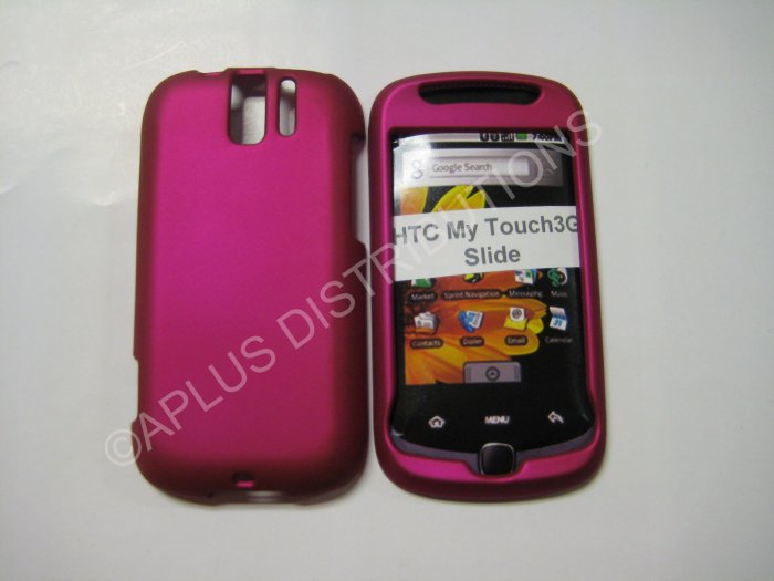 New Hot Pink Rubberized Hard Protective Cover For HTC My Touch Slide 3G - (0055)