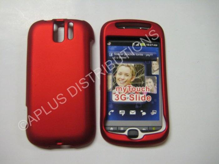 New Red Rubberized Hard Protective Cover For HTC My Touch Slide 3G - (0054)