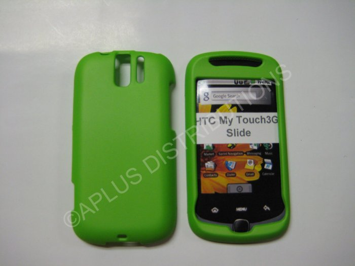New Lime Green Rubberized Hard Protective Cover For HTC My Touch Slide 3G - (0064)
