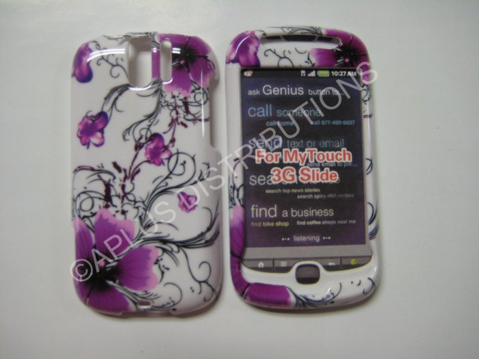 New Purple Hibuscus Swirls Hard Protective Cover For HTC My Touch Slide 3G - (0009)