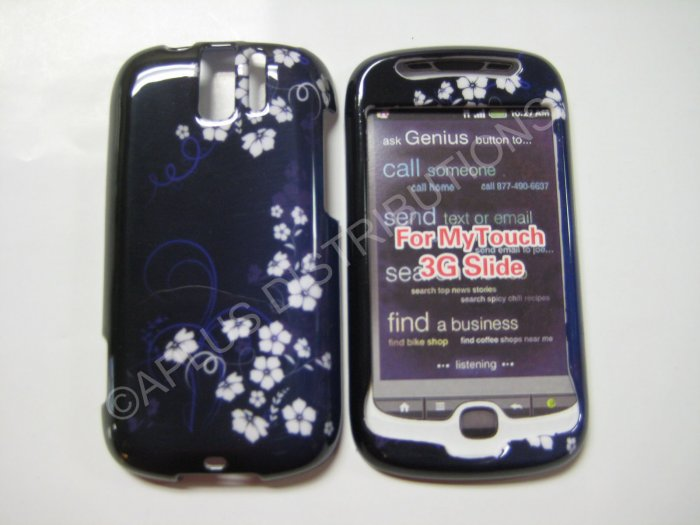 New Blue Midnight Flower Hard Protective Cover For HTC My Touch Slide 3G - (0023)