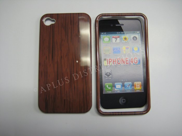 New Brown Wood Grain Design Hard Protective Cover For iPhone 4 - (0141)