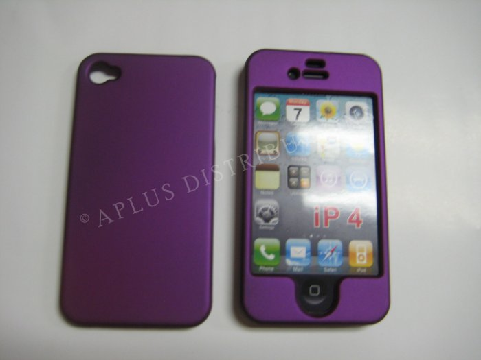 New Purple Solid Color Design Hard Protective Cover For iPhone 4 - (0133)