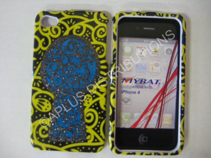 New Yellow Key Hole Design Hard Protective Cover For iPhone 4 - (0127)