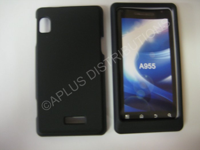 New Black Rubberized Hard Protective Cover For Motorola Droid 2 A955 - (0051)