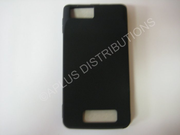 New Black Solid Color Silicone Skin Case For Motorola Droid X MB810 - (0006)