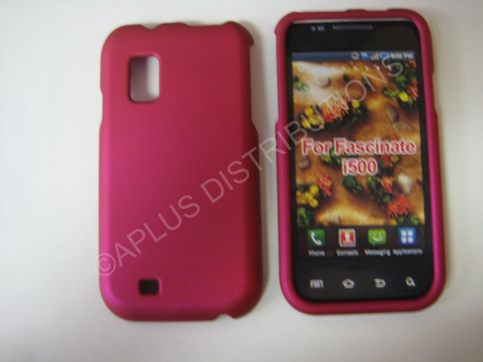 New Hot Pink Rubberized Hard Protective Cover For Samsung Fascinate I500 - (0055)