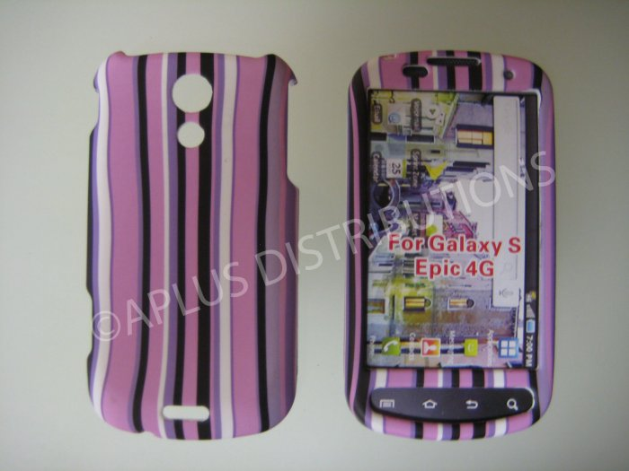 New Purple Rubberized Vertical Strips Hard Protective Cover For Samsung Epic 4G - (0034)