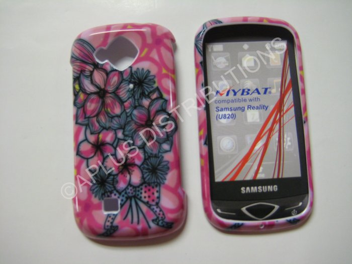 New Pink Multi-Plumeria Hard Protective Cover For Samsung Reality U820 - (0021)