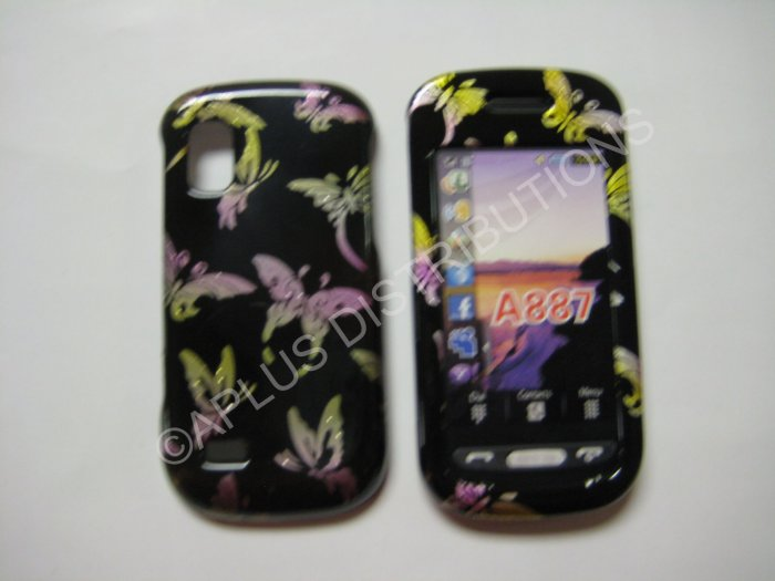 New Black Multi-Butterflies Hard Protective Cover For Samsung Solstice A887 - (0005)