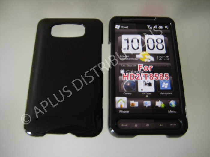 New Black Solid Color Hard Protective Cover For HTC HD2 - (0062)