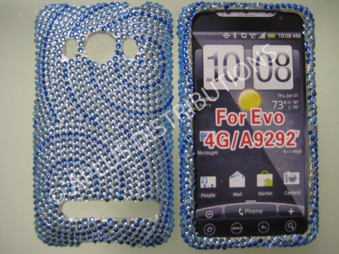 New Dark Blue Circle Swirlz Bling Diamond Case For HTC Evo 4G - (0026)
