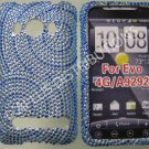 New Dark Blue Circle Swirlz Bling Diamond Case For HTC Evo 4G - (0026)