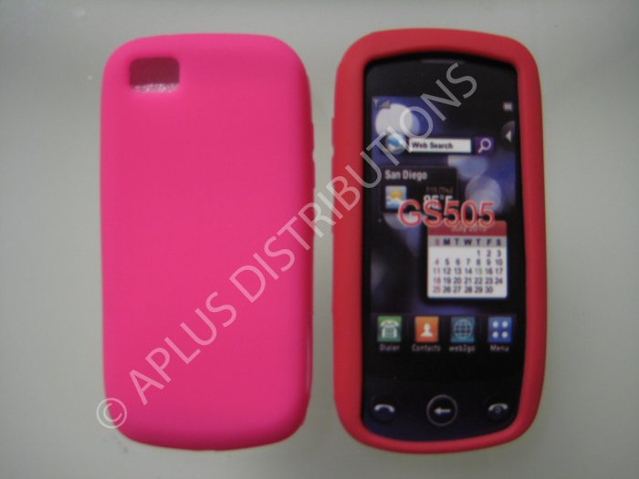 New Hot Pink Solid Color Silicone Skin Case For LG Sentio Gs505 - (0009)