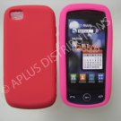 New Red Solid Color Silicone Skin Case For LG Sentio Gs505 - (0008)
