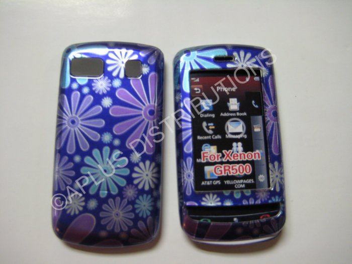 New Blue Groovy Flower Power Hard Protective Cover For LG Xenon GR500 - (0016)