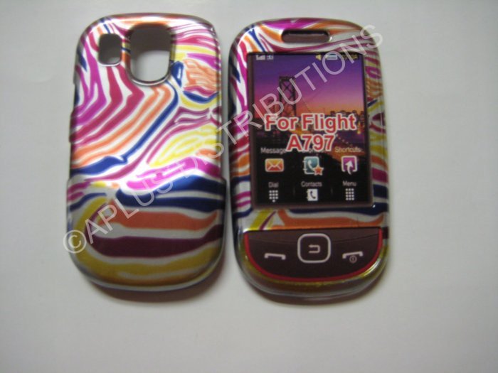 New Multi-Color Metallic Zebra Design Hard Protective Cover For Samsung Flight A797 - (0017)